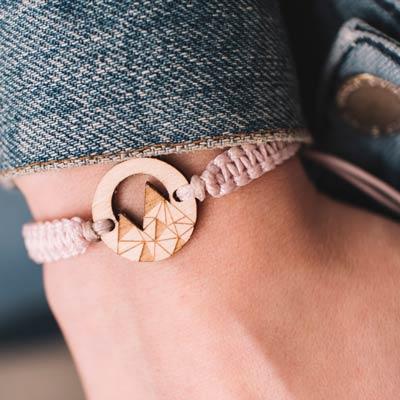wooden bracelet mountains
