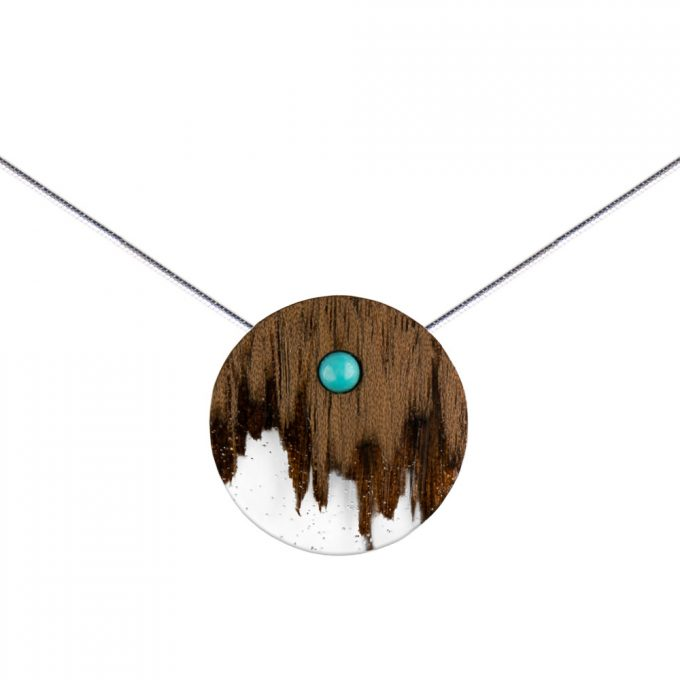 wooden necklace circle, silver snake chain