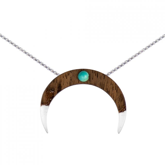 wooden necklace moon, silver cube chain