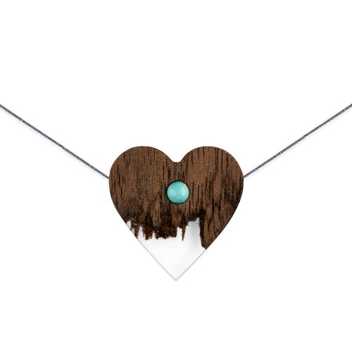 wooden necklace heart, silver snake chain