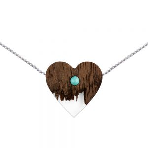 wooden necklace heart, silver cube chain
