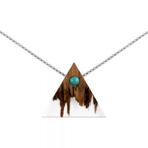 wooden necklace triangle, silver cube chain