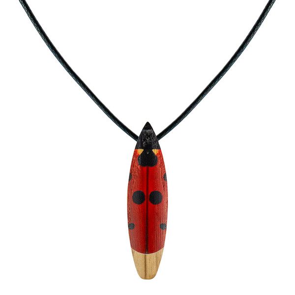 wooden necklace ladybird