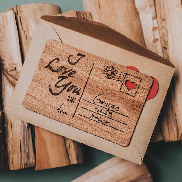 valentine's wooden card