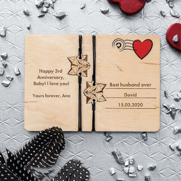 anniversary wooden card