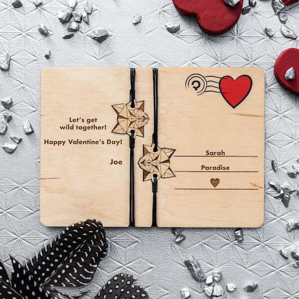 valentine's wolf wooden card