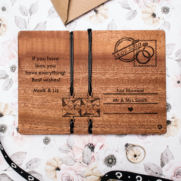 anniversary wooden card with bracelets