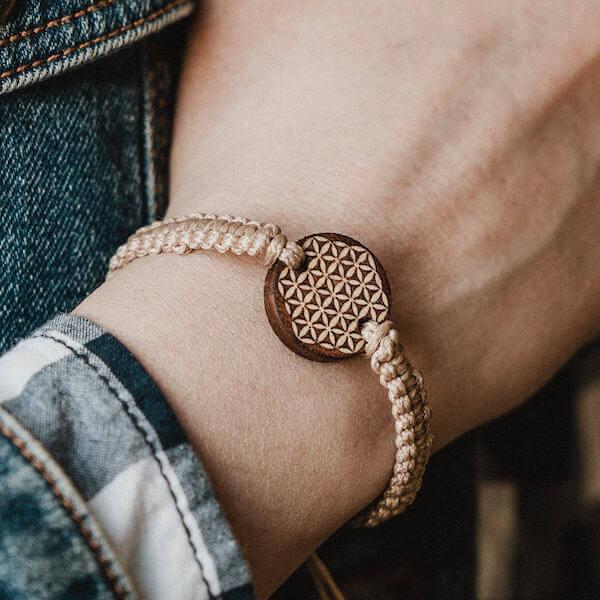 wooden bracelet flower of life
