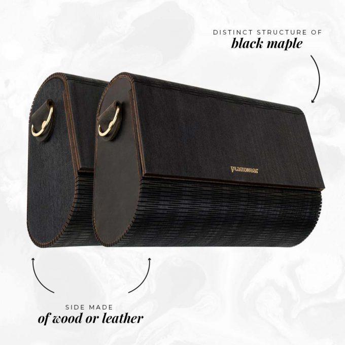 wooden handbag black maple
