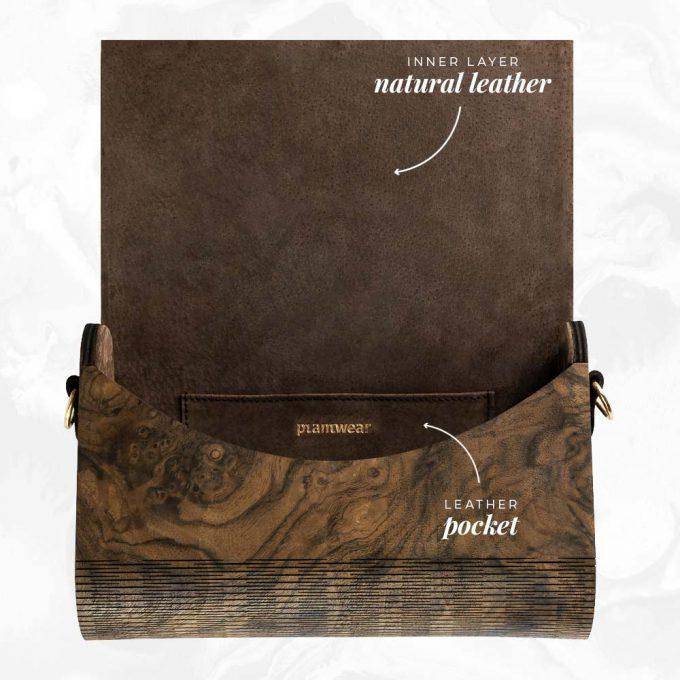 wooden handbag burr walnut