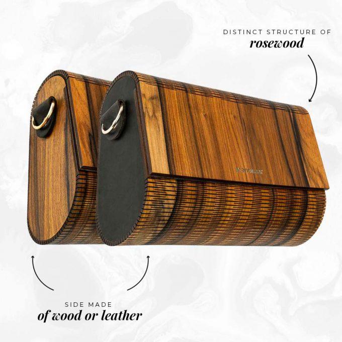 wooden handbag rosewood