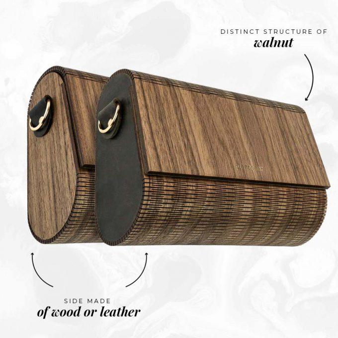 wooden handbag walnut