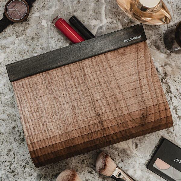 wooden clutch bag walnut