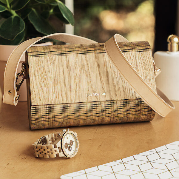 Wooden Handbag - Nature - Flap - Oak