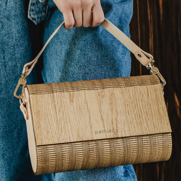 wooden handbag oak