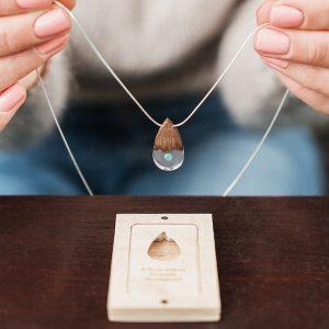 wooden necklace teardrop