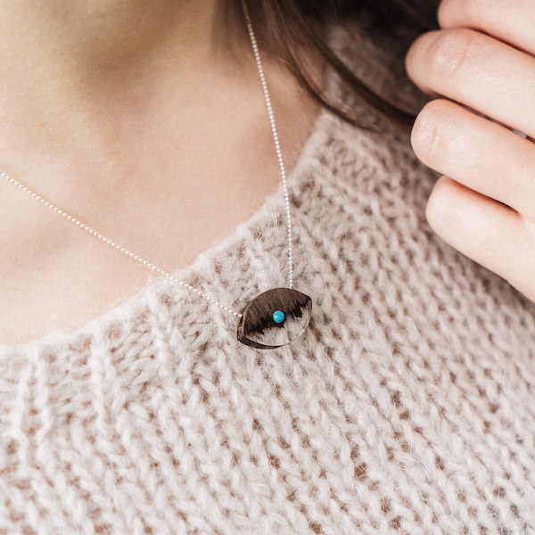 wooden necklace eye