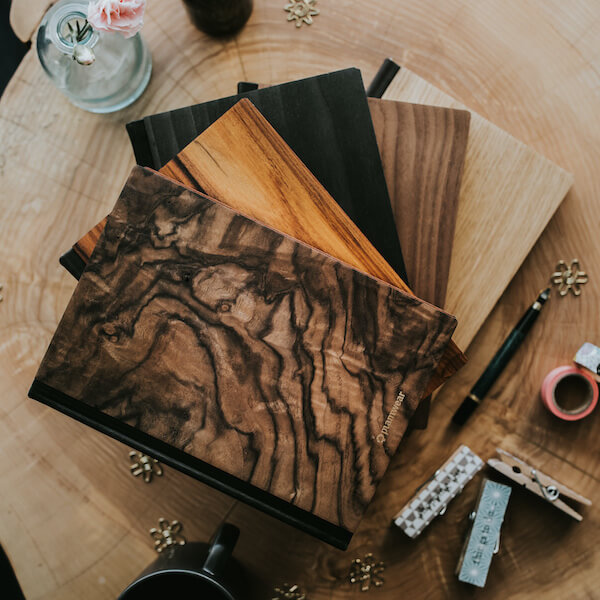 notebook with wooden cover
