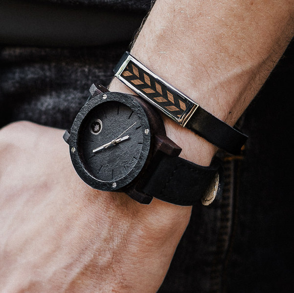 wooden watch raw series double stone ebony