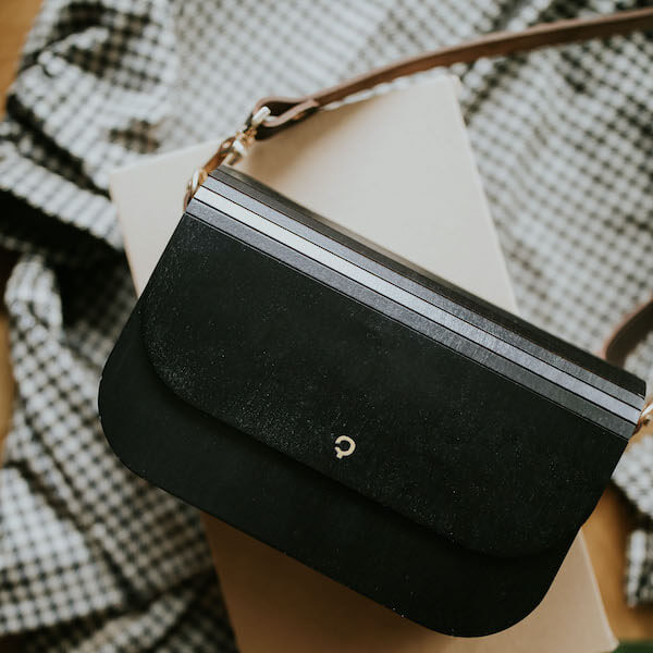 wooden handbag groove black maple