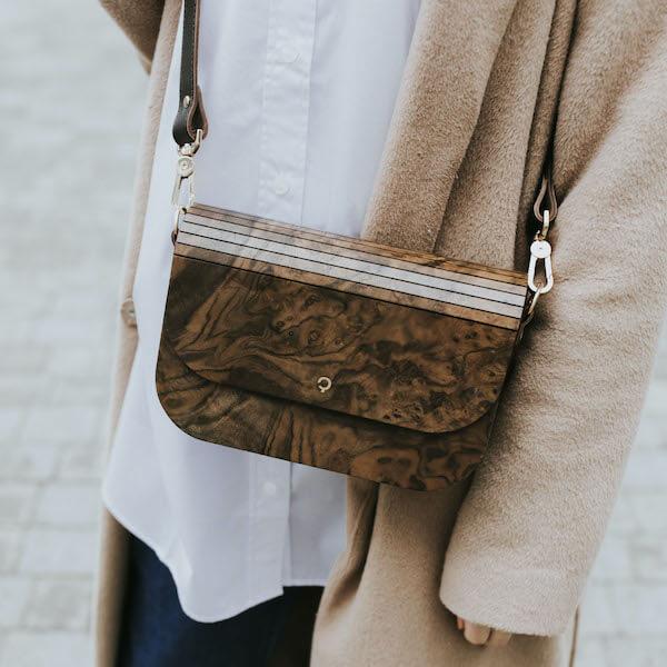 wooden handbag groove burr walnut