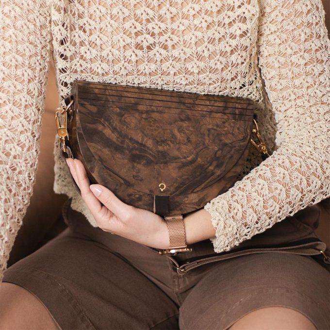Wooden Handbag - Luna - Burr Walnut