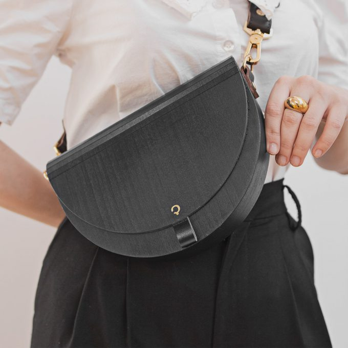 Wooden Handbag - Luna - Black Maple