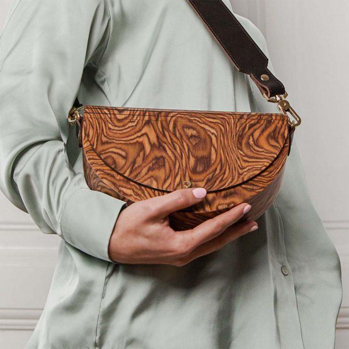 wooden handbag luna muscato