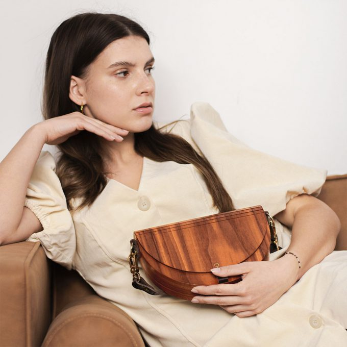 Wooden Handbag - Luna - Rosewood