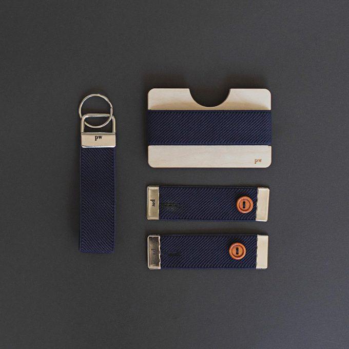 Set - cuff holders, wooden wallet, keyring