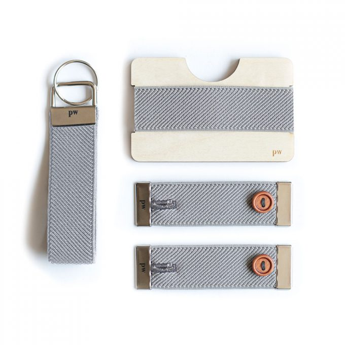 Set - Keychain, Cuff holders and wooden wallet